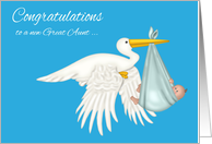 Congratulations on becoming Great Aunt to grandnephew, Stork card