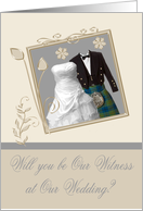 Invitations, Wedding, Will You Be Our Witness, kilt, wedding gown card