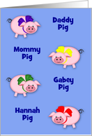 Custom name little piggies with colorful bows on a solid background any occasion card