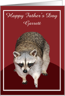 Father's Day, custom name, a beautiful racoon on burgundy, white card