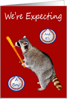 Announcement, We're Expecting A Boy, Raccoon licking baseball bat card