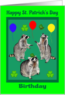 Birthday on St. Patrick's Day with Raccoons, Shamrocks and Balloons card