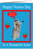 Nurses Day To Sister, raccoon with stethoscope in red frame on blue card
