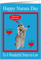 Nurses Day To Sister-in-Law, raccoon with stethoscope in red frame card