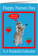 Nurses Day To Godmother, raccoon with stethoscope in red frame, blue card