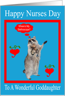 Nurses Day To Goddaughter, raccoon with stethoscope in red frame card