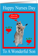 Nurses Day To Son, raccoon with stethoscope in red frame on blue card