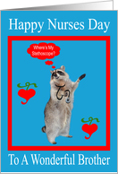 Nurses Day To Brother, raccoon with stethoscope in red frame on blue card