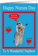 Nurses Day To Nephew, raccoon with stethoscope in a red frame, blue card