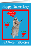 Nurses Day To Godson, raccoon with stethoscope in a red frame, blue card