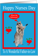Nurses Day To Father-in-Law, raccoon with stethoscope in a red frame card