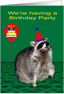 Invitations to 109th Birthday Party, Raccoon with a party hat, balloon card