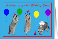 Invitations, 109th Birthday Party, Raccoons with party hats, balloons card