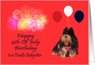 Birthday On 4th Of July to Babysitter, Pomeranian watching fireworks card
