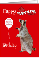 Birthday On Canada Day To Life Partner, Raccoon with balloon, leaf card