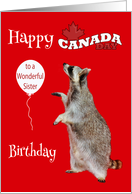 Birthday On Canada Day To Sister, Raccoon with balloon, maple leaf card