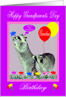 Birthday On Grandparents Day to grandma, Raccoons with flowers card
