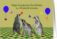 Birthday On Grandparents Day to Grandma, Raccoons with balloons card