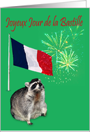 Bastille Day, general, French, raccoon wearing beret with fireworks card