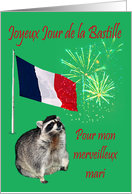 Bastille Day to Husband, French, raccoon wearing beret with fireworks card