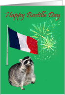 Bastille Day, raccoon wearing beret with fireworks and french flag card