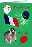 Birthday on Bastille Day, raccoon wearing beret with fireworks card