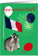 Bastille Day Birthday, Fench, raccoon wearing beret with fireworks card