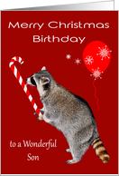Birthday on Christmas to Son, Raccoon eating candy cane with balloon card