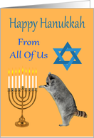 Hanukkah From All Of Us, Raccoon praying by a menorah with a Star Of David card