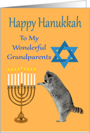 Hanukkah To Grandparents, Raccoon praying by a menorah with a Star Of David card
