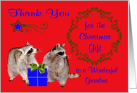 Thank You for the Christmas Gift to Grandma, adorable accoons, red card