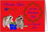 Thank You for the Christmas Gift to Aunt, adorable raccoons, holly card