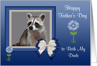 Father's Day to Both My Dads, Raccoon in blue bow frame with flowers card