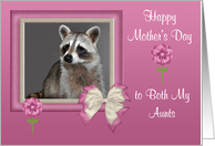 Mother's Day To Both My Aunts, Raccoon in bow frame with flowers, pink card