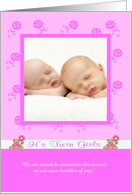 Birth Announcement Photo Card, It's Twin Girls card