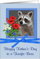 Father's Day To Boss, Portrait of a raccoon in a flower frame on blue card