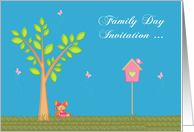 Invitations, Family Day, general, Bunny with a flower pot and tree card