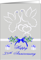 38th Anniversary, wedding, white doves kissing over joined hearts card