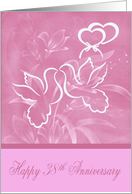 38th Anniversary, wedding, beautiful doves kissing over joined hearts card