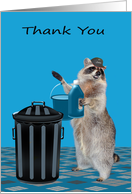 Thank You to Janitor, general, adorable raccoon wearing a hat card