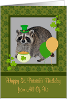 Birthday on St. Patrick's Day from All Of Us with a Raccoon and Gold card