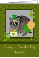 Birthday on St. Patrick's Day, Raccoon, Balloons and Shamrocks card