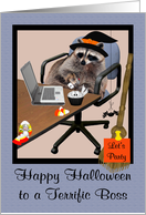 Halloween to Boss, Raccoon in an office setting wearing a witch hat card