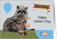 Father's Day, general, Raccoon wearing a hat with a fishing pole, gray card