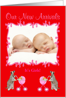 Twin Birth Announcement Photo Card, Girls card