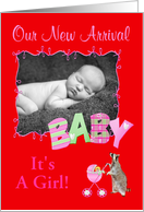 Birth Announcement Photo Card, Girl card
