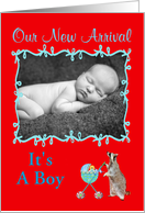 Birth Announcement Photo Card, Boy card