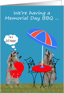 Invitations, Memorial Day Barbecue, Raccoons getting ready for a BBQ card