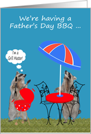 Invitations, Father's Day Barbecue, Raccoons getting ready for a BBQ card