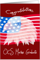 Congratulations, OCS Marine Graduate, Bald Eagle on an American Flag card